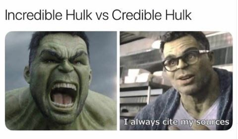 Facial expression - Incredible Hulk vs Credible Hulk I always cite my sources