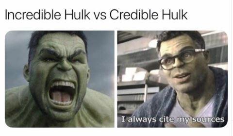 Facial expression - Incredible Hulk vs Credible Hulk I always cite my sources
