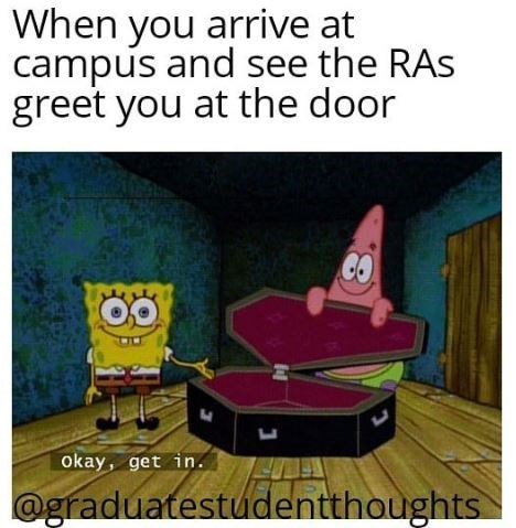 Text - When you arrive at campus and see the RAs greet you at the door Okay, get in @graduatestudentthoughts