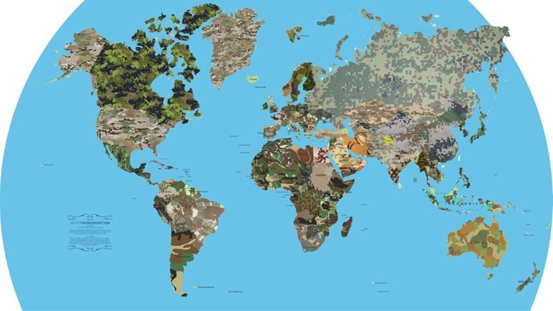 world map showing the different camouflage patterns that each country uses