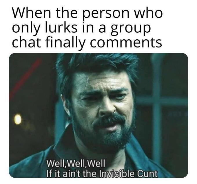 Text - When the person who only lurks in a group chat finally comments Well,Well,Well If it ain't the Invisible Cunt