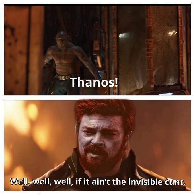 Human - Thanos! Well, well, well, if it ain't the invisible cunt.