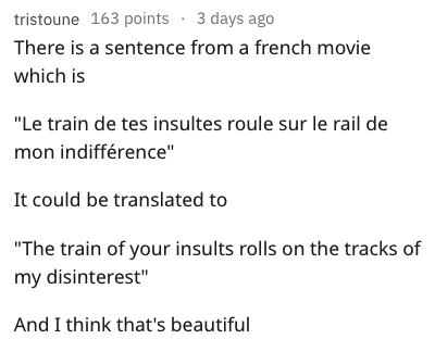 "Text - tristoune 163 points 3 days ago There is a sentence from a french movie which is ""Le train de tes insultes roule sur le rail de mon indifférence"" It could be translated to ""The train of your insults rolls on the tracks of my disinterest"" And I think that's beautiful"