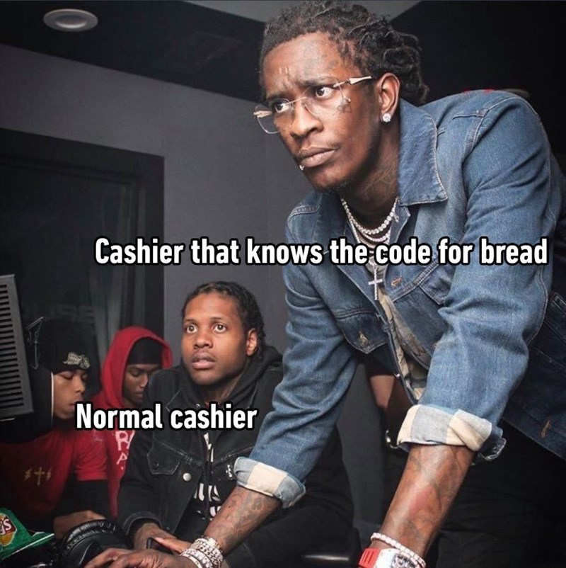 Funny meme about a grocery store cashier knowing the code for bread while another cashier looks on