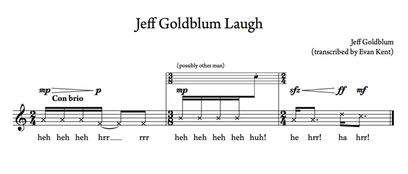 Jeff Goldblum - Text - Jeff Goldblum Laugh Jeff Goldblum (transcribed by Evan Kent) (possibly other man) тр тр Con brio ha hrr! heh heh heh hrr__ heh heh heh heh huh! he hrr! rrr