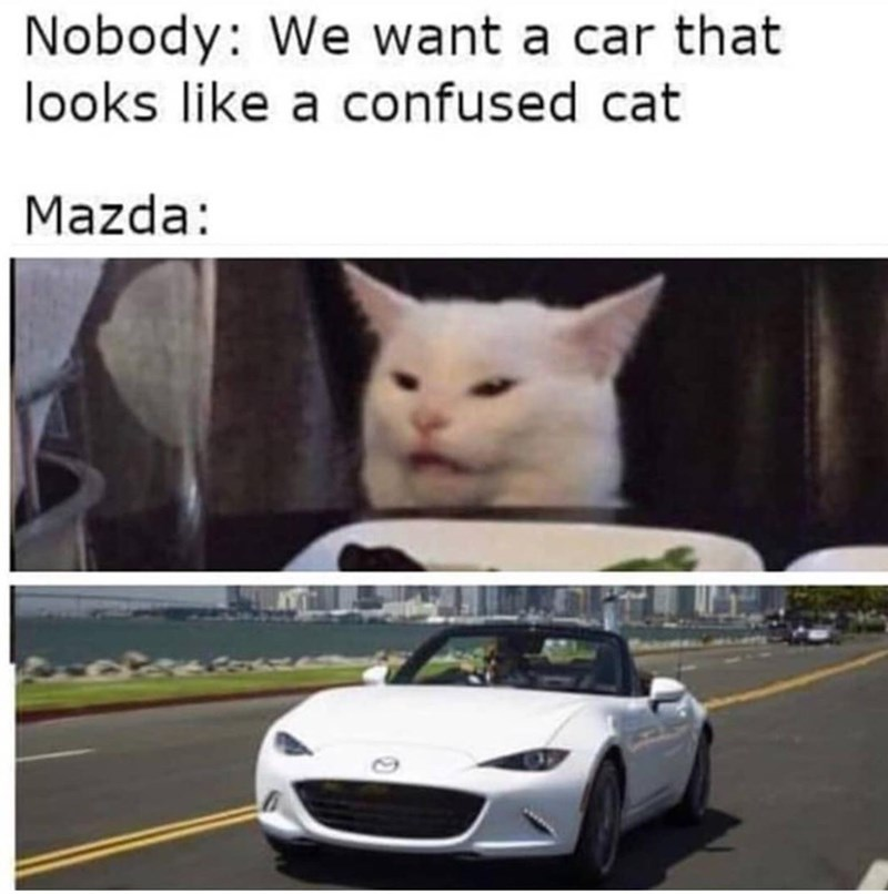 Motor vehicle - Nobody: We want a car that looks like a confused cat Mazda: