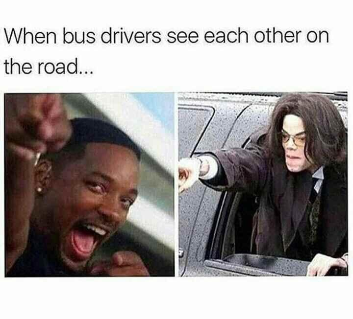 Hair - When bus drivers see each other on the road...