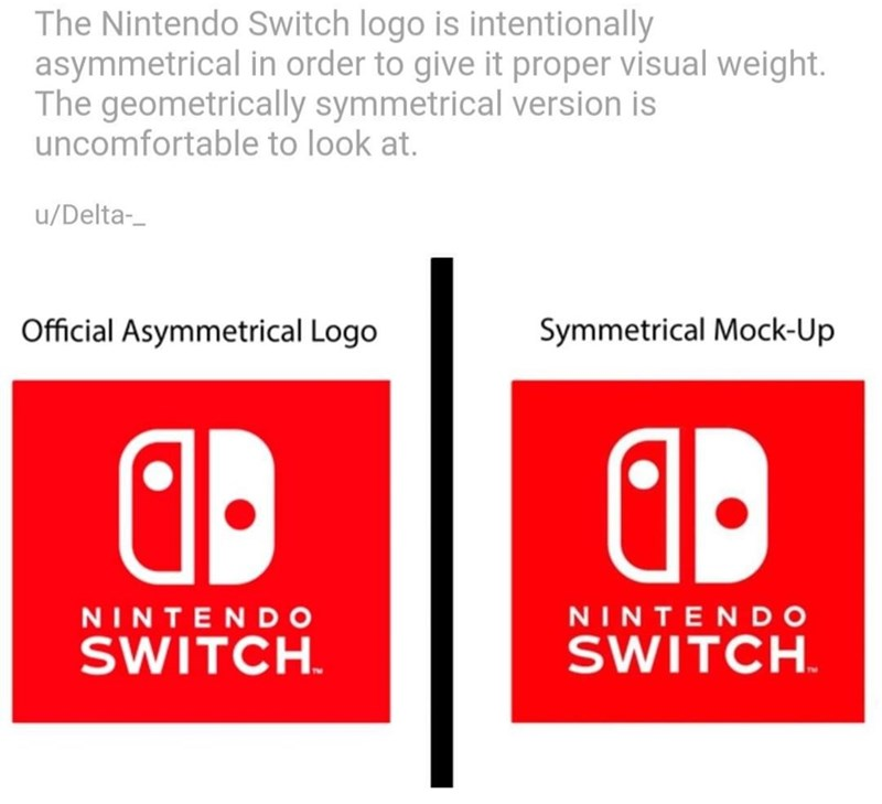 Text - The Nintendo Switch logo is intentionally asymmetrical in order to give it proper visual weight. The geometrically symmetrical version is uncomfortable to look at. /Delta- Symmetrical Mock-Up Official Asymmetrical Logo NINTENDO SWITCH NINTENDO SWITCH