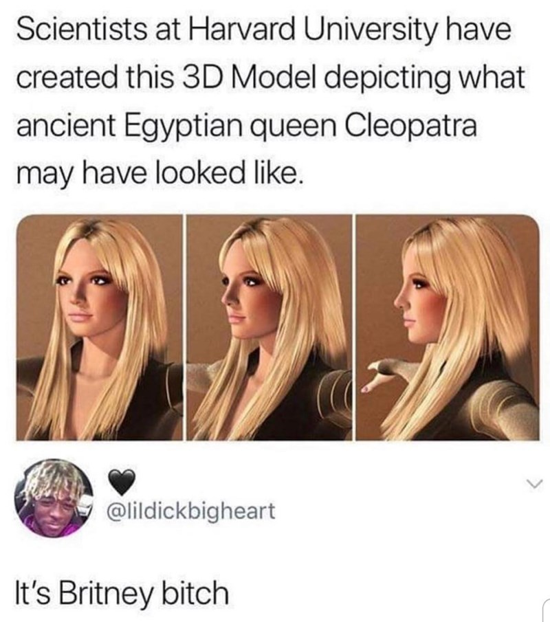 Hair - Scientists at Harvard University have created this 3D Model depicting what ancient Egyptian queen Cleopatra may have looked like. @lildickbigheart It's Britney bitch