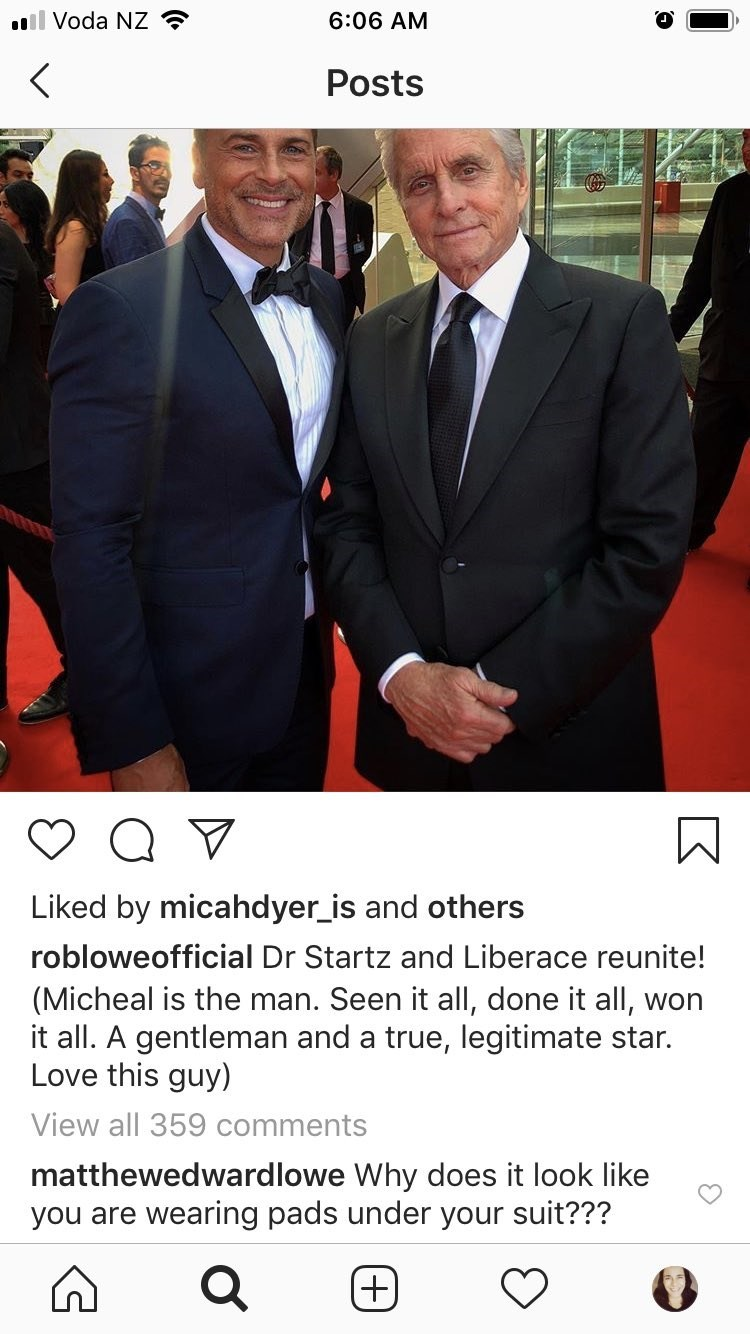 Suit - l Voda NZ 6:06 AM Posts Liked by micahdyer_is and others robloweofficial Dr Startz and Liberace reunite! (Micheal is the man. Seen it all, done it all, won it all. A gentleman and a true, legitimate star. Love this guy) View all 359 comments matthewedwardlowe Why does it look like you are wearing pads under your suit??? (+)