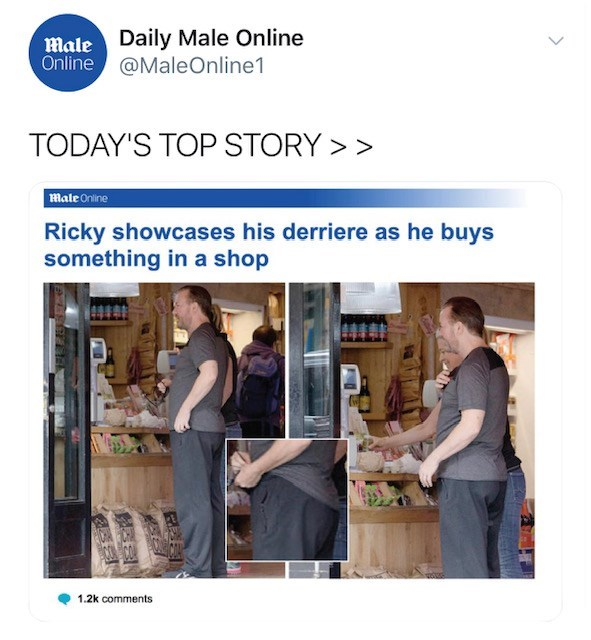Product - Male Daily Male Online Online@MaleOnline1 TODAY'S TOP STORY> 7Male Online Ricky showcases his derriere as he buys something in a shop 1.2k comments