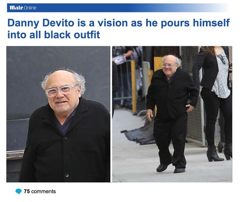 Adaptation - Male Online Danny Devito is a vision as he pours himself into all black outfit 75 comments