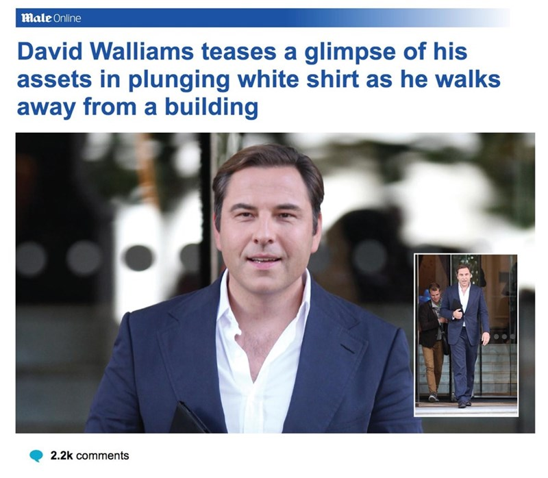 Job - Male Online David Walliams teases a glimpse of his assets in plunging white shirt as he walks away from a building 2.2k comments