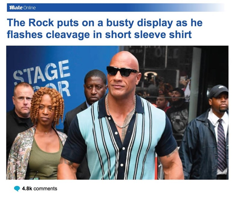 People - Male Online The Rock puts on a busty display as he flashes cleavage in short sleeve shirt STAGE R 4.8k comments