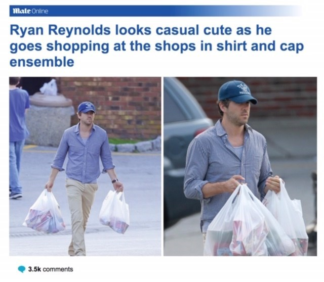 Product - male Online Ryan Reynolds looks casual cute as he goes shopping at the shops in shirt and cap ensemble 3.5k comments