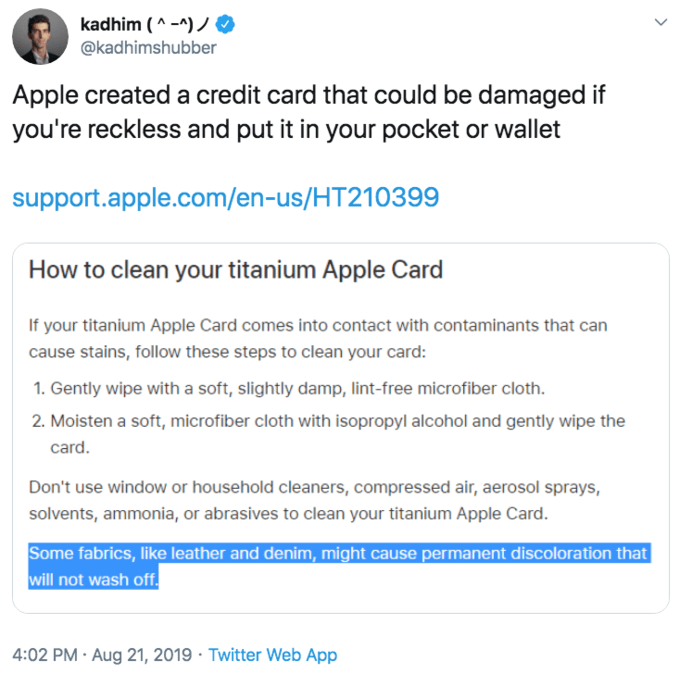 """Tweet that reads, """"Apple created a credit card that could be damaged if you're reckless and put it in your pocket or wallet"""""""