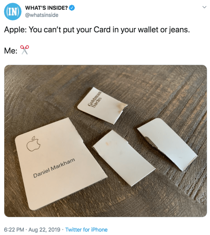 """Tweet that reads, """"Apple: You can't put your Card in your wallet or jeans. Me"""""""