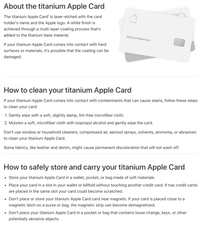 Apple's instructions for taking care of the Apple Card