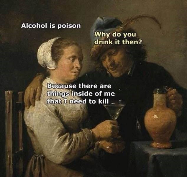 Album cover - Alcohol is poison Why do you drink it then? Because there are things inside of me that I need to kill