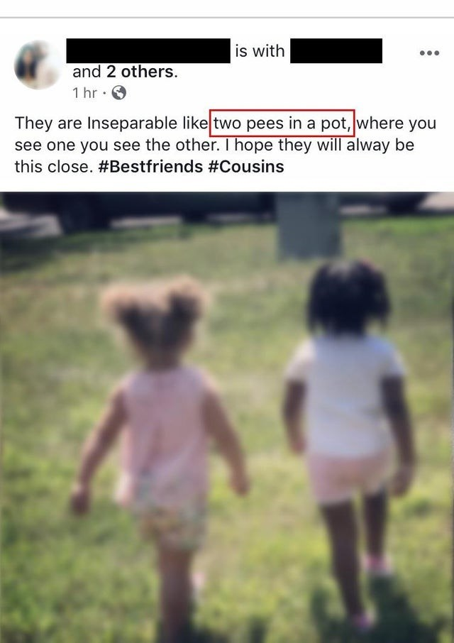 Text - is with and 2 others 1 hr They are Inseparable like two pees in a pot, where you see one you see the other. I hope they will alway be this close. #Bestfriends #Cousins