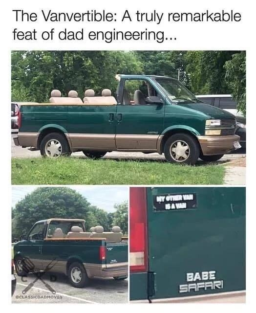 Car - The Vanvertible: A truly remarkable feat of dad engineering... Y OTHER VAN SA VAN BABE SAFARI eCLASSICDADMOVES