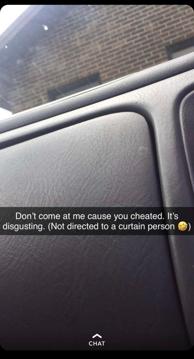 Vehicle door - Don't come at me cause you cheated. It's disgusting. (Not directed to a curtain person CHAT