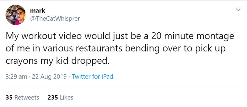 Text - mark @TheCatWhisprer My workout video would just be a 20 minute montage of me in various restaurants bending over to pick up crayons my kid dropped. 3:29 am 22 Aug 2019 Twitter for iPad 235 Likes 35 Retweets