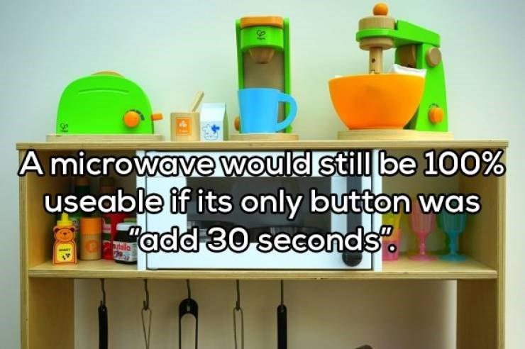 Shelf - A microwave would still be 100% useable if its only button was add 30 seconds alla