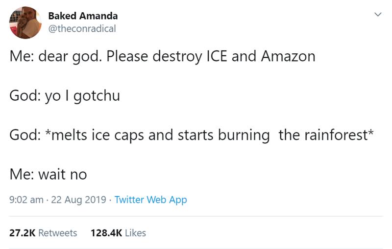 funny women - Text - Baked Amanda @theconradical Me: dear god. Please destroy ICE and Amazon God: yo I gotchu God: *melts ice caps and starts burning the rainforest* Me: wait no 9:02 am 22 Aug 2019 Twitter Web App 27.2K Retweets 128.4K Likes