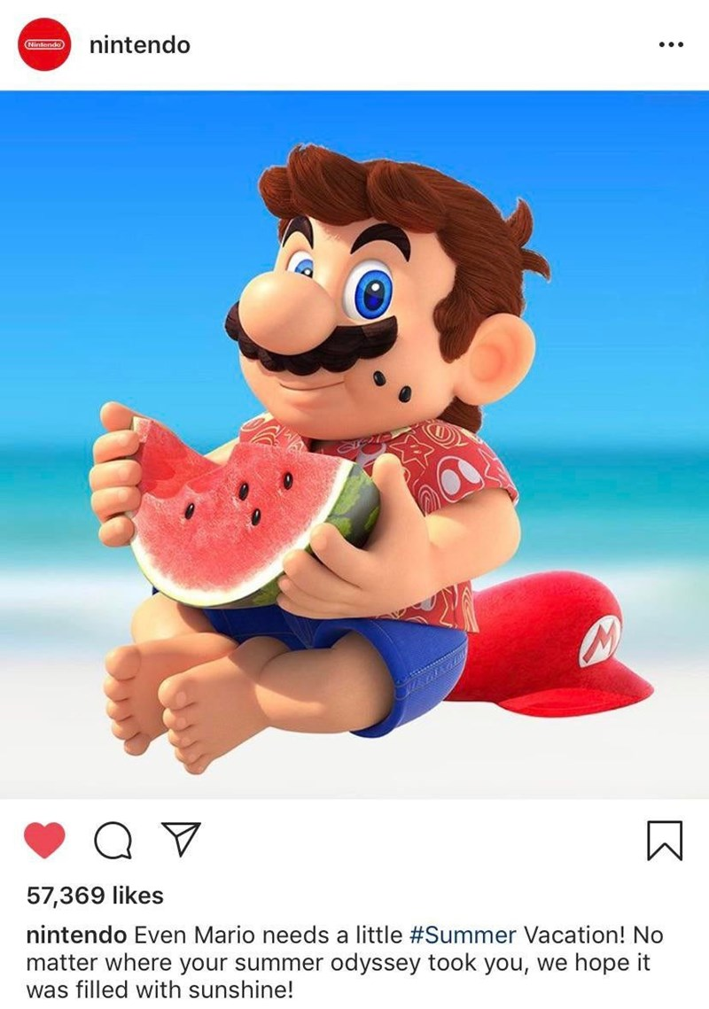 Cartoon - nintendo Nintendo 57,369 likes nintendo Even Mario needs a little #Summer Vacation! No matter where your summer odyssey took you, we hope it was filled with sunshine! :