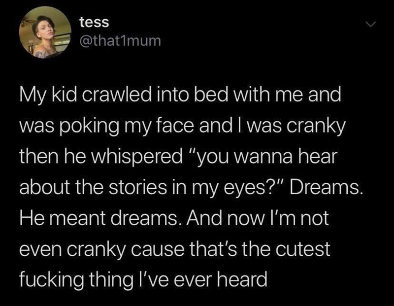 """Text - tess @that1mum My kid crawled into bed with me and was poking my face and I was cranky then he whispered """"you wanna hear about the stories in my eyes?"""" Dreams. He meant dreams. And now l'm not even cranky cause that's the cutest fucking thing l've ever heard"""