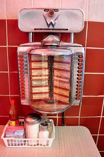 Picture of a miniature jukebox at a restaurant