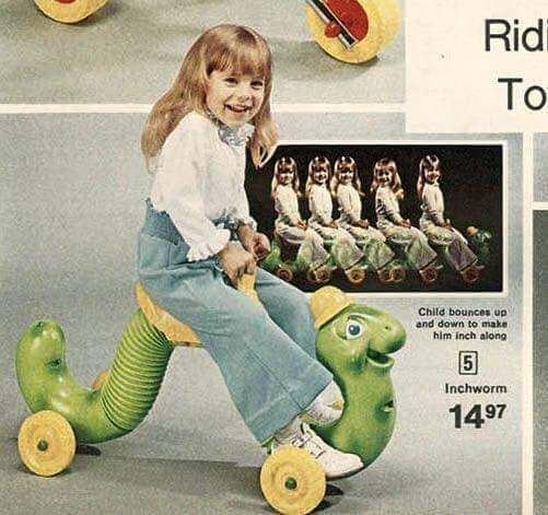 70s 80s nostalgia - Footwear - Ridi To Child bounces up and down to make him inch along Inchworm 1497