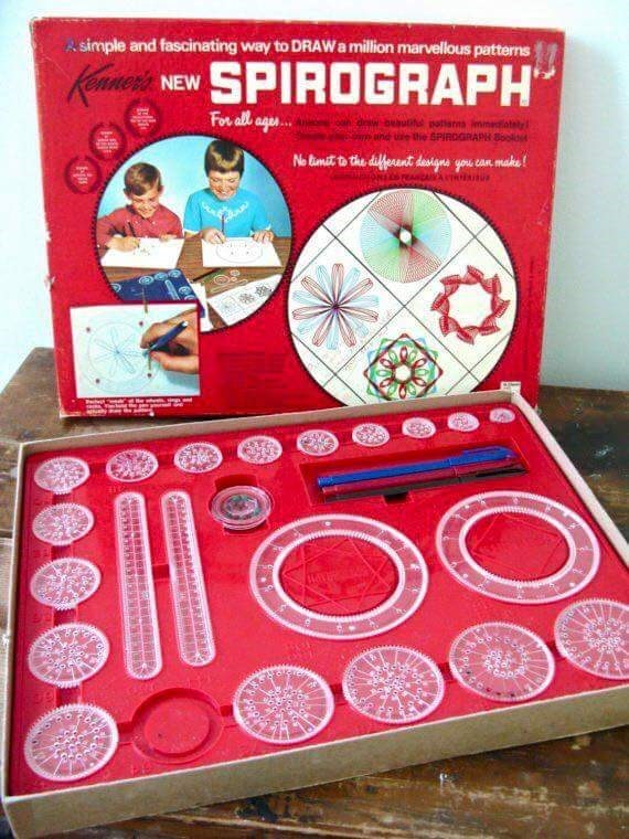 70s 80s nostalgia - Asimple and fascinating way to DRAW amillion marvellous patterns Kane NEWSPIROGRAPH For all age.. beautifd potians e the SPIRDGRAPH 8 No Bmat to the deferent designs you can make