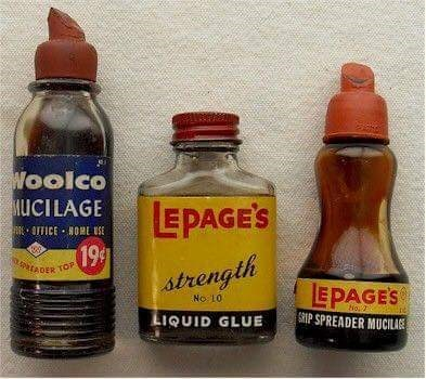 70s 80s nostalgia - Bottle - Woolco MUCILAGE EPAGE'S 199 strength OTICE NOME USE spataDER TOP LEPAGES SRIP SPREADER MUCILAIRE No 10 LIQUID GLUE