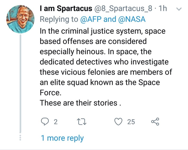 Text - I am Spartacus @8_Spartacus_8 1h Replying to @AFP and @NASA In the criminal justice system, space based offenses are considered especially heinous. In space, the dedicated detectives who investigate these vicious felonies are members of an elite squad known as the Space Force. These are their stories 2 25 1 more reply