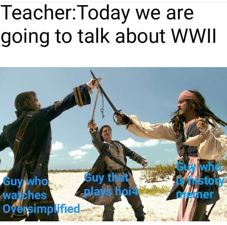 Friendship - Teacher:Today we are going to talk about WWII Gywh ohistory memer Guy that plays hoi4 Guy whoe waches Oversimplified