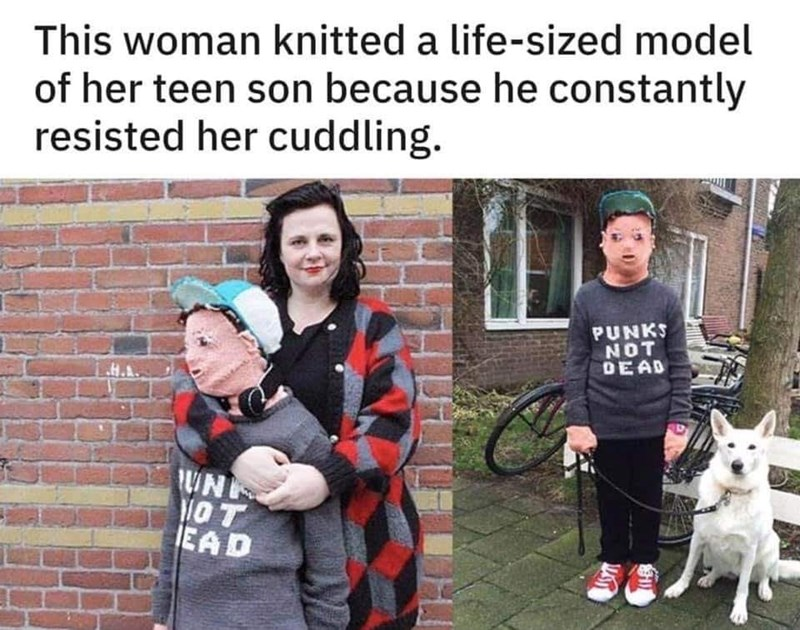 Canidae - This woman knitted a life-sized model of her teen son because he constantly resisted her cuddling. PUNKS NOT DEAD H.A WN OT IEAD