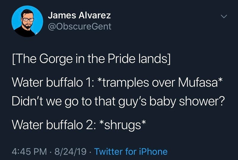 Text - James Alvarez @ObscureGent [The Gorge in the Pride lands] Water buffalo 1: *tramples over Mufasa* Didn't we go to that guy's baby shower? Water buffalo 2: *shrugs* 4:45 PM 8/24/19 Twitter for iPhone