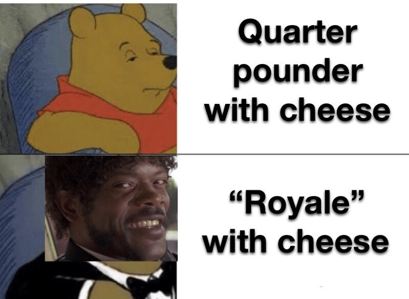 """Cartoon - Quarter pounder with cheese """"Royale"""" with cheese"""