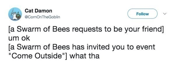 """Text - Cat Damon Follow @CornOnTheGoblin [a Swarm of Bees requests to be your friend] um ok [a Swarm of Bees has invited you to event """"Come Outside""""] what tha"""