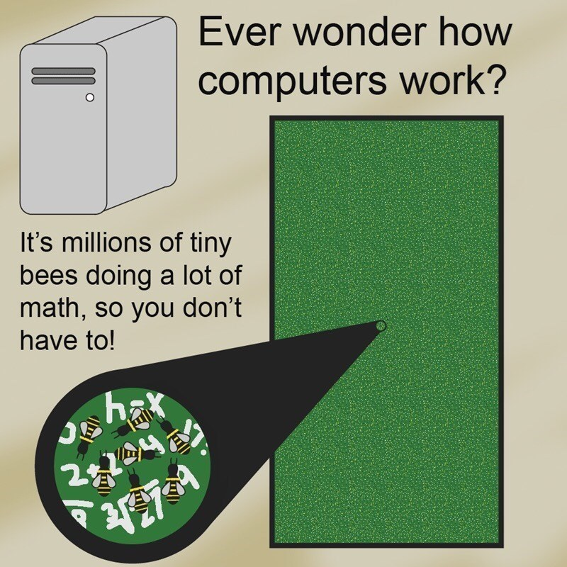 Green - Ever wonder how computers work? It's millions of tiny bees doing a lot of math, so you don't have to! hax