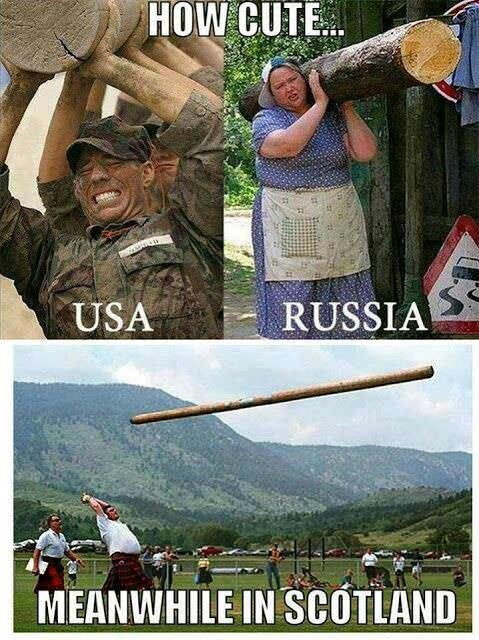 meme - Adaptation - HOW CUTE RUSSIA USA MEANWHILE IN SCOTLAND