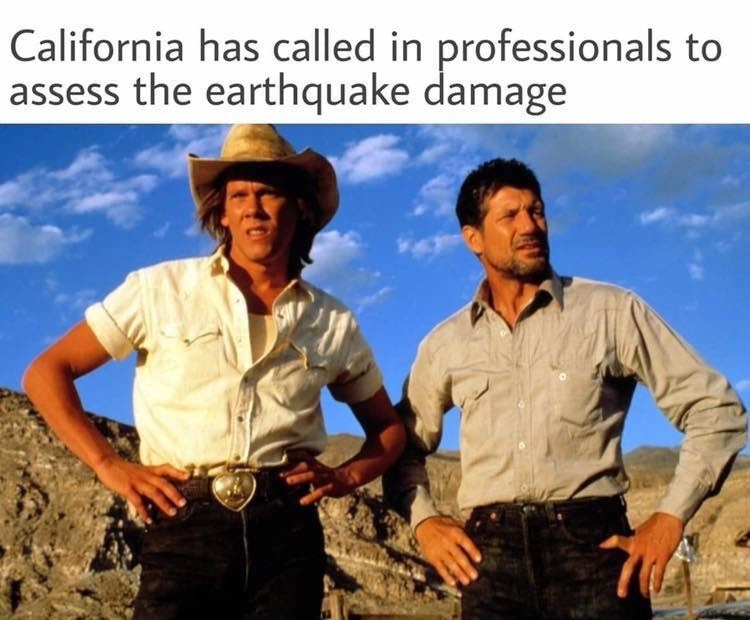 meme - Adaptation - California has called in professionals to assess the earthquake damage