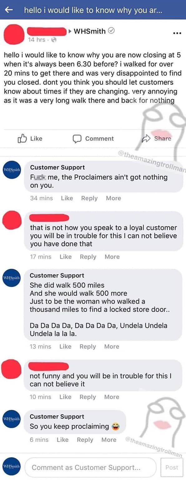 """Facebook post that reads, """"hello i would like to know why you are now when it's always been 6.30 before? i walked for over 20 mins to get there and was very disappointed to find you closed. dont you think you should let customers know about times if they are changing. very annoying as it was a very long walk there and back for nothing"""""""