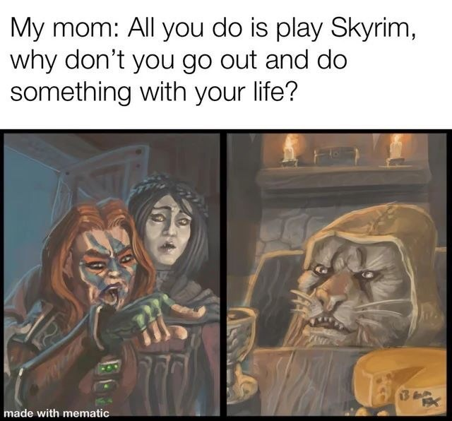 Text - My mom: All you do is play Skyrim, why don't you go out and do something with your life? 13 made with mematic