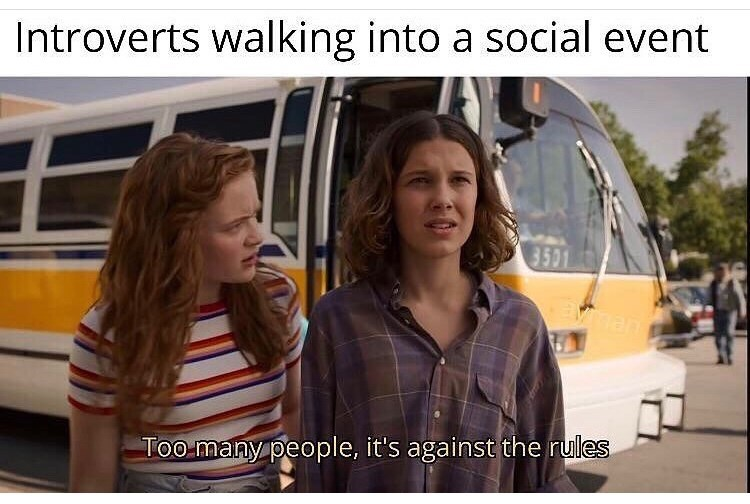 Transport - Introverts walking into a social event 3501 han Too many people, it's against the rules