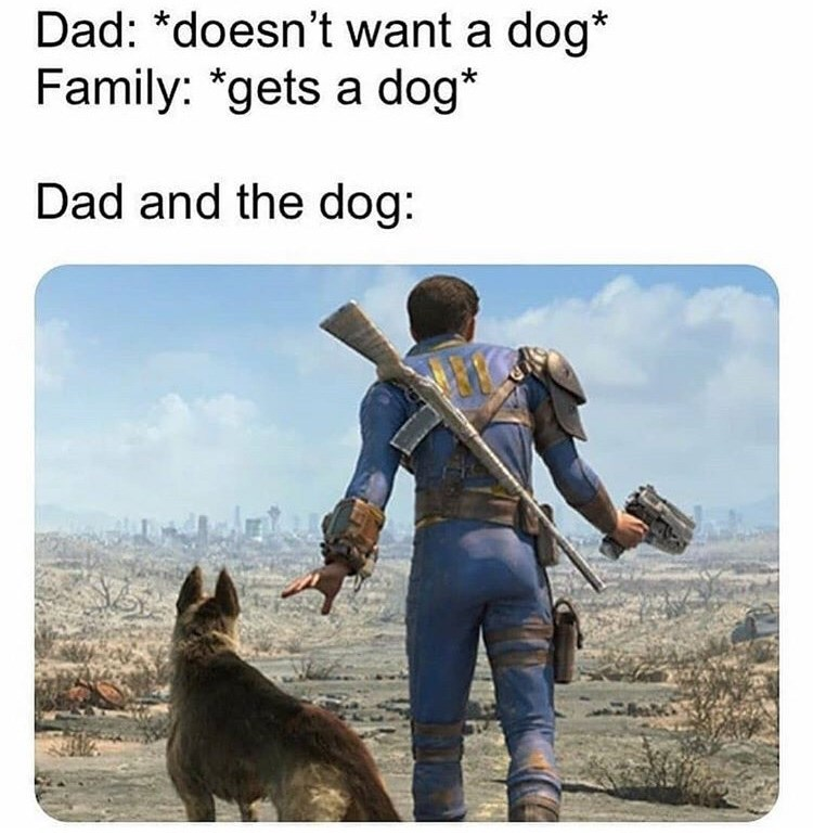 Text - Dad: *doesn't want a dog* Family: *gets a dog* Dad and the dog: