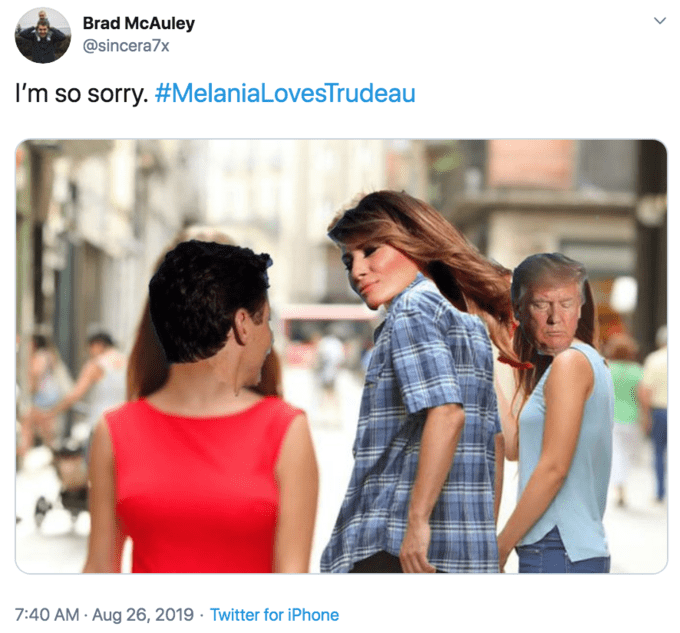 'Distracted Boyfriend' meme where the character's faces have been photoshopped into Trudeau, Melania, and Donald Trump