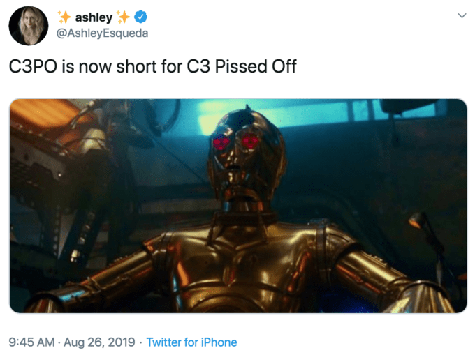 """Meme that reads, """"C3PO is now short for C3 Pissed Off"""""""